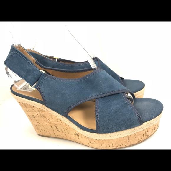 5de3036d78 Franco Sarto Shoes   Taylor Blue Suede Wedge Sandals 11m   Poshmark